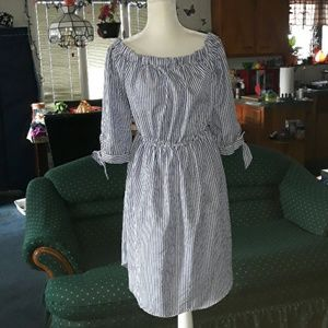 Blue and white vertical striped off shoulder dress